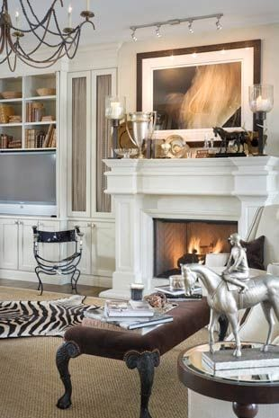 equestrian living room with built ins